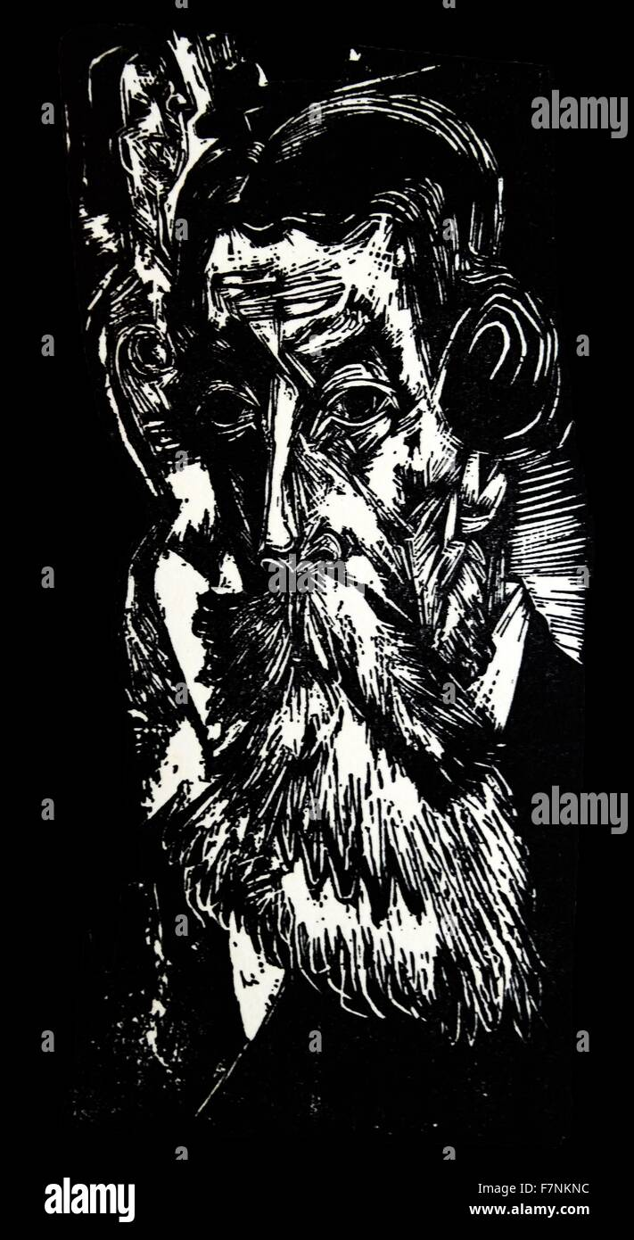 Woodcut portrait of a bearded man by Ernst Ludwig Kirchner (1880-1938) German expressionist painter, printmaker, - Stock Image