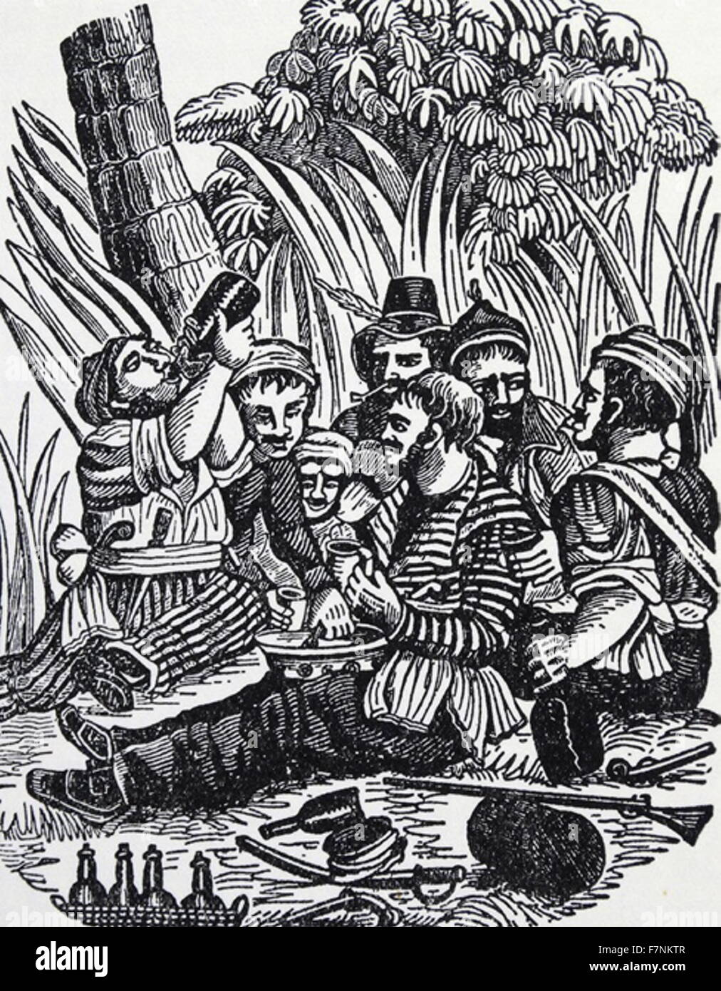 crew of Captain Bartholomew Roberts, known as 'Black Bart,' after a raid on the Guinea Coast, Africa in - Stock Image