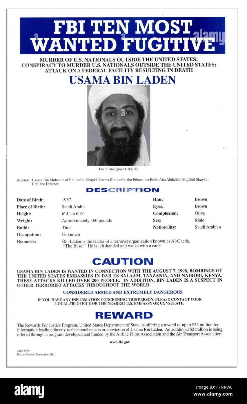 FBI Most Wanted poster of Osama Bin Laden the Al Qaida