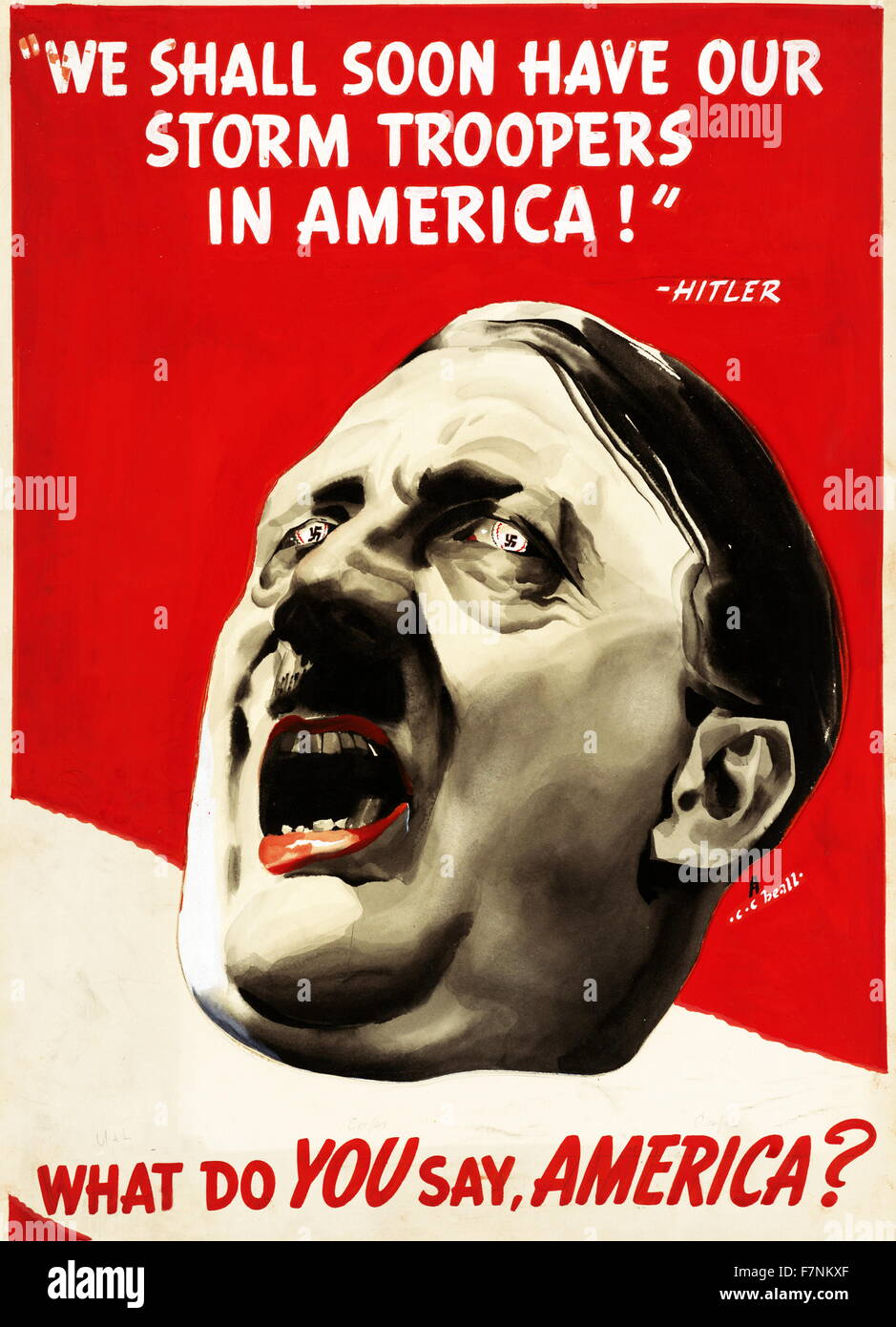 Anti-Nazi propaganda poster (American) during World war two 1943. 'We Shall Soon Have Our Storm Troopers In - Stock Image