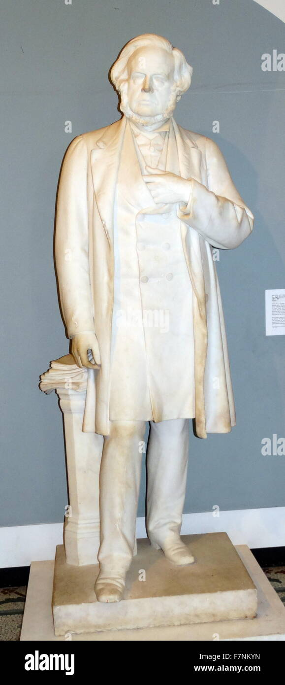 Marble statue of the Right honourable John Bright, MP (1811-1889) by Bruce A Joy (1842-1924) Irish sculptor working Stock Photo