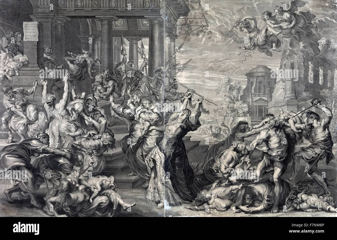Print showing the massacre of the innocents ordered by Herod, from a 17th century perspective. Stock Photo