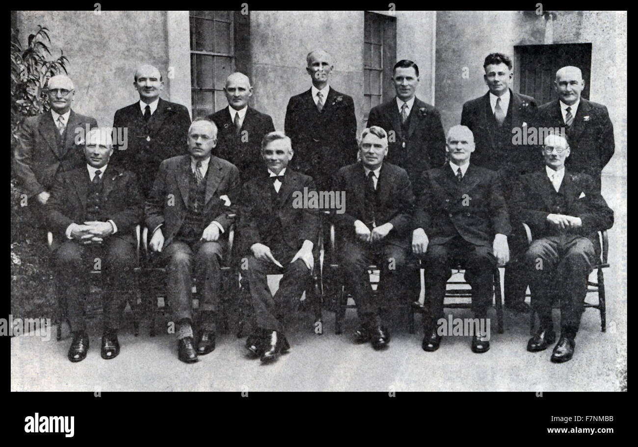 The first Labour government of New Zealand 1935-1940. ministers in 1935. Standing from left are William Martin, - Stock Image