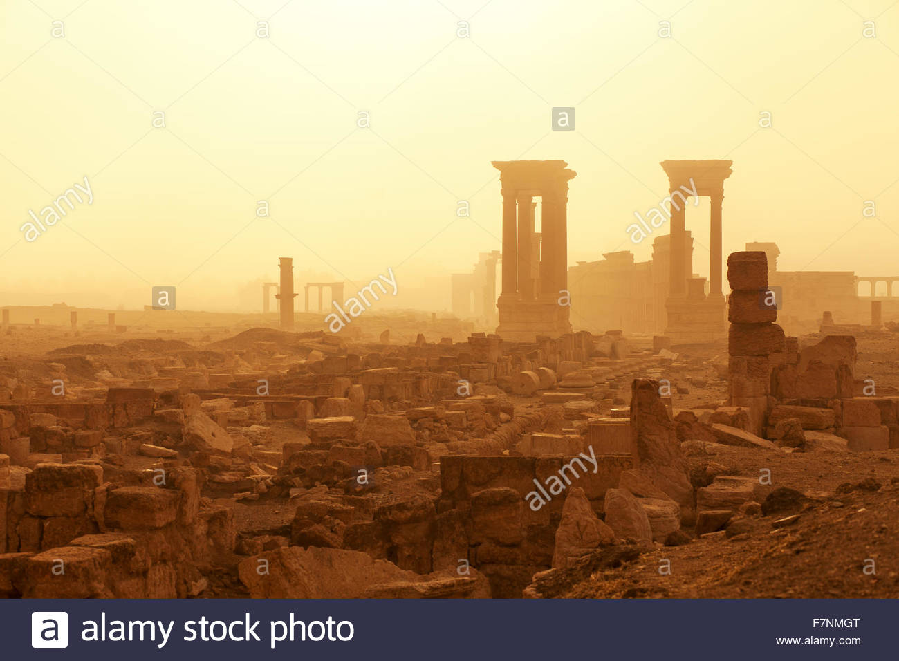 Syria, Homs Governorate, Palmyra,Temple of Bel - Stock Image