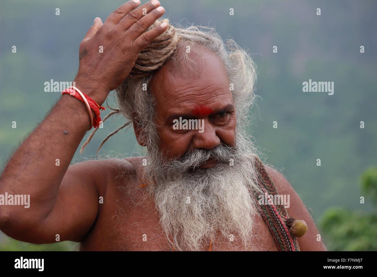 Sadhu with dreadlocks Kumbh Mela, Nasik, Maharashtra, India - Stock Image
