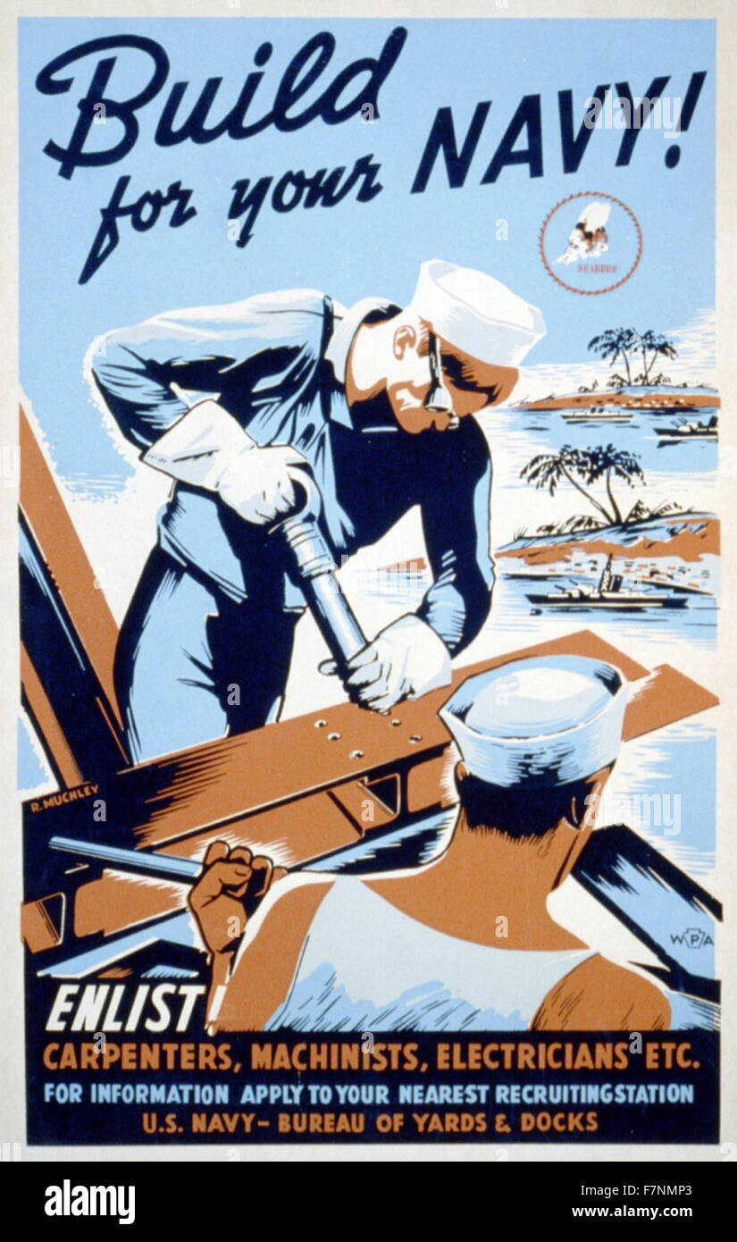 World War Two, American Patriotic Poster. - Stock Image