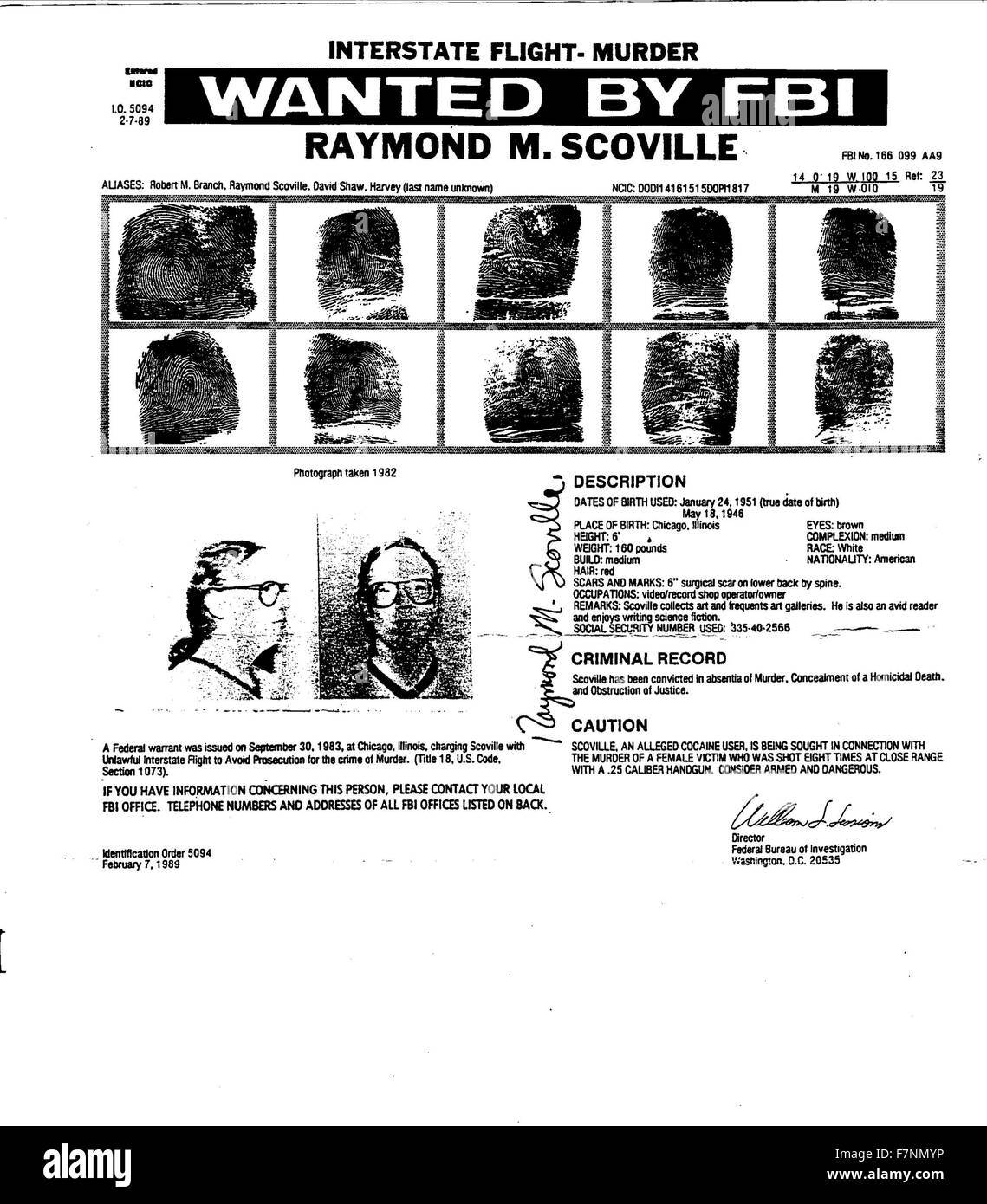 fbi most wanted poster for raymond m scoville scoville was arrested for the murder of his lover and business partner colleen rachich