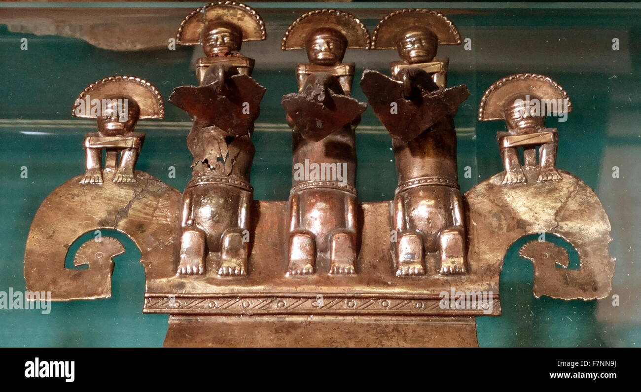Selection of Colombian gold work. Dated 12th Century - Stock Image