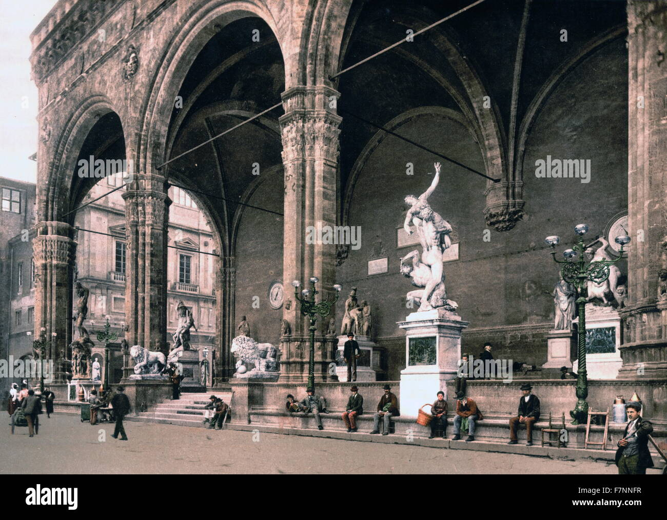 The Lodge of the Lancers (Loggia dei Lanzi), Florence, Italy 1900 - Stock Image