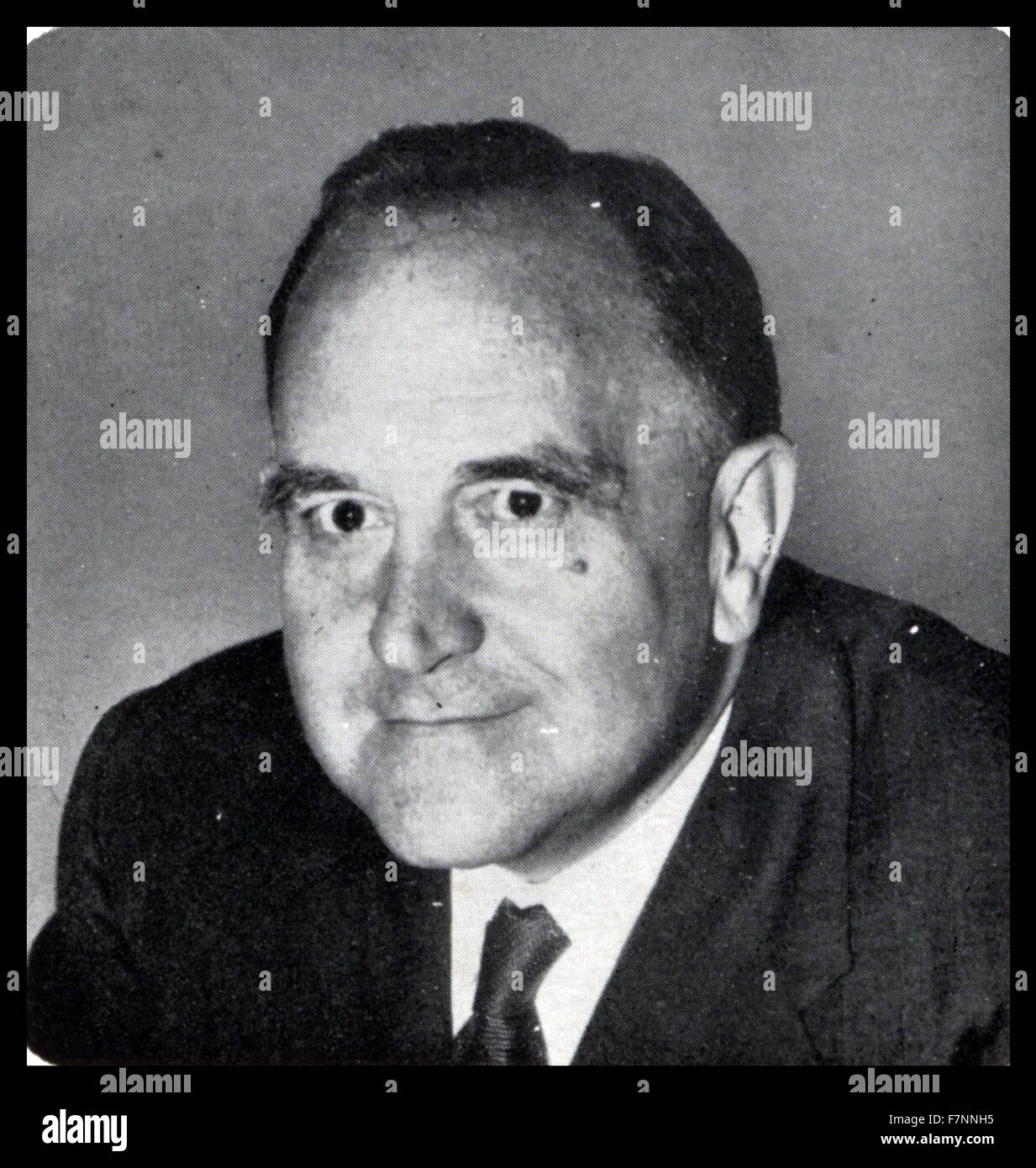 Portrait of Sir Roy Welensky, Prime Minister of Northern Rhodesia 1962 - Stock Image