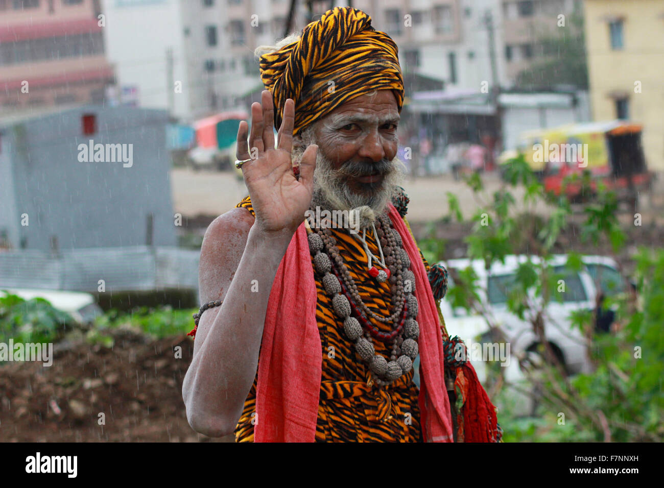Sadhu offering blessings Kumbh Mela, Nasik, Maharashtra, India - Stock Image