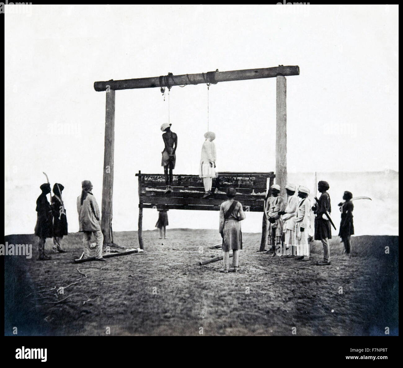 Felice Beato photograph showing the Gallows on which two of the King of Delhi's sons were hanged for having taken - Stock Image