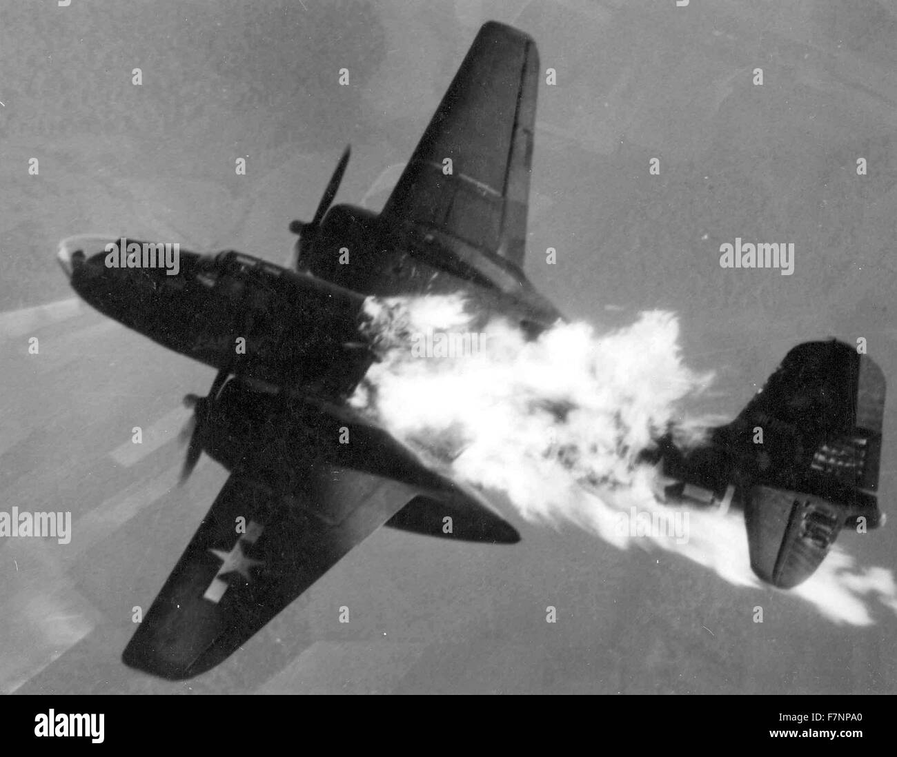 World war two, US Air Force A-20 Havoc aircraft, after being hit by German anti-aircraft fire. 1944 - Stock Image