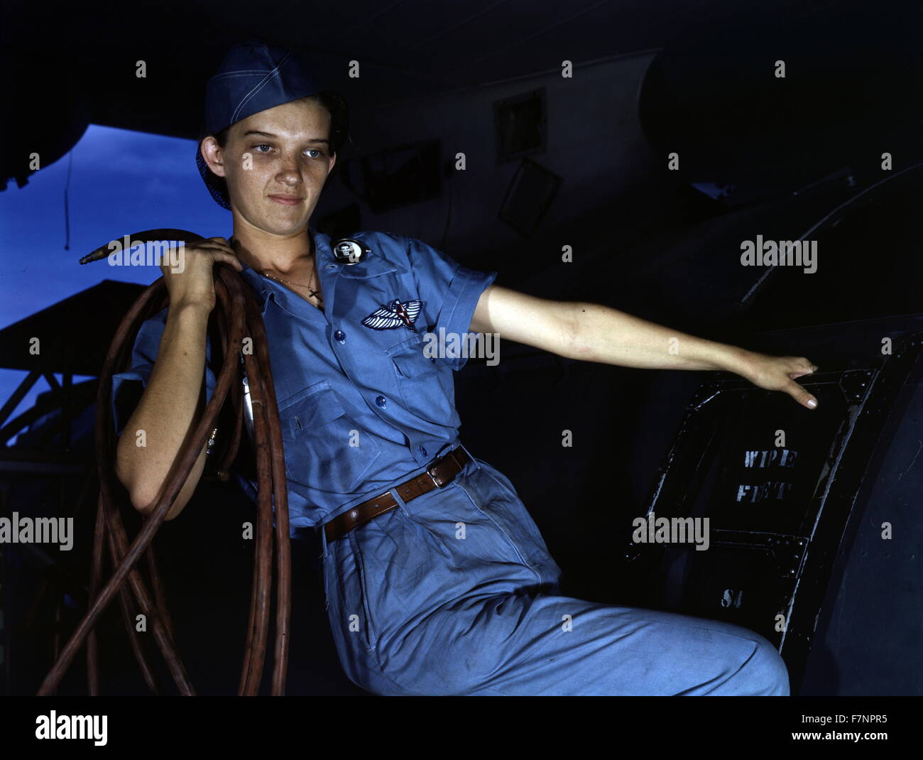 With a woman's determination, Lorena Craig takes over a man-size job, Corpus Christi, Texas. Before she came - Stock Image