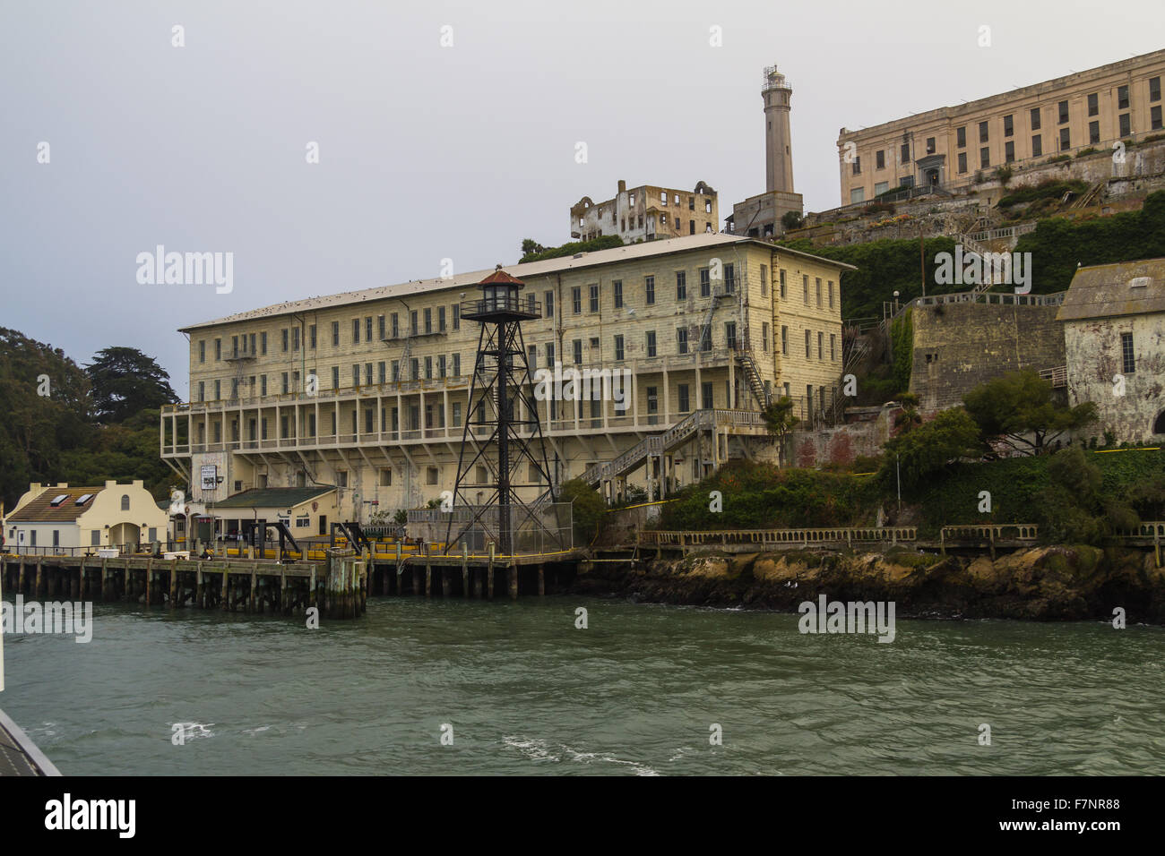 Arriving at Alcatraz Island in the evening, San Francisco - Stock Image