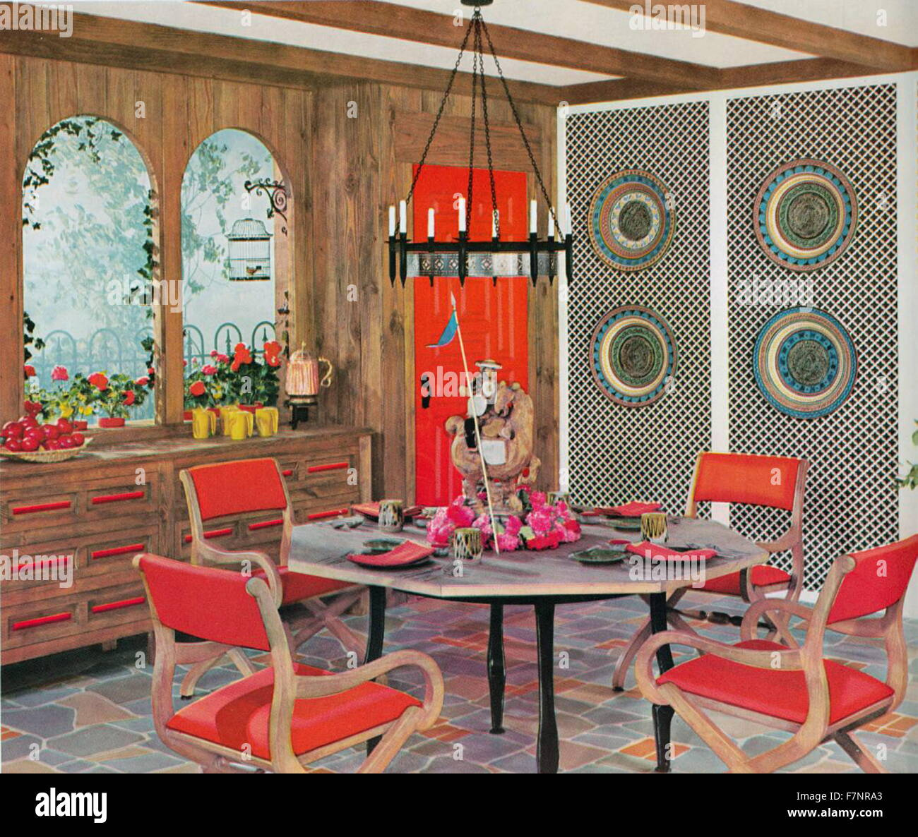 Illustration depicting a Retro dinning area from the Amstrong Book of Interior Decoration. Dated 1962 - Stock Image