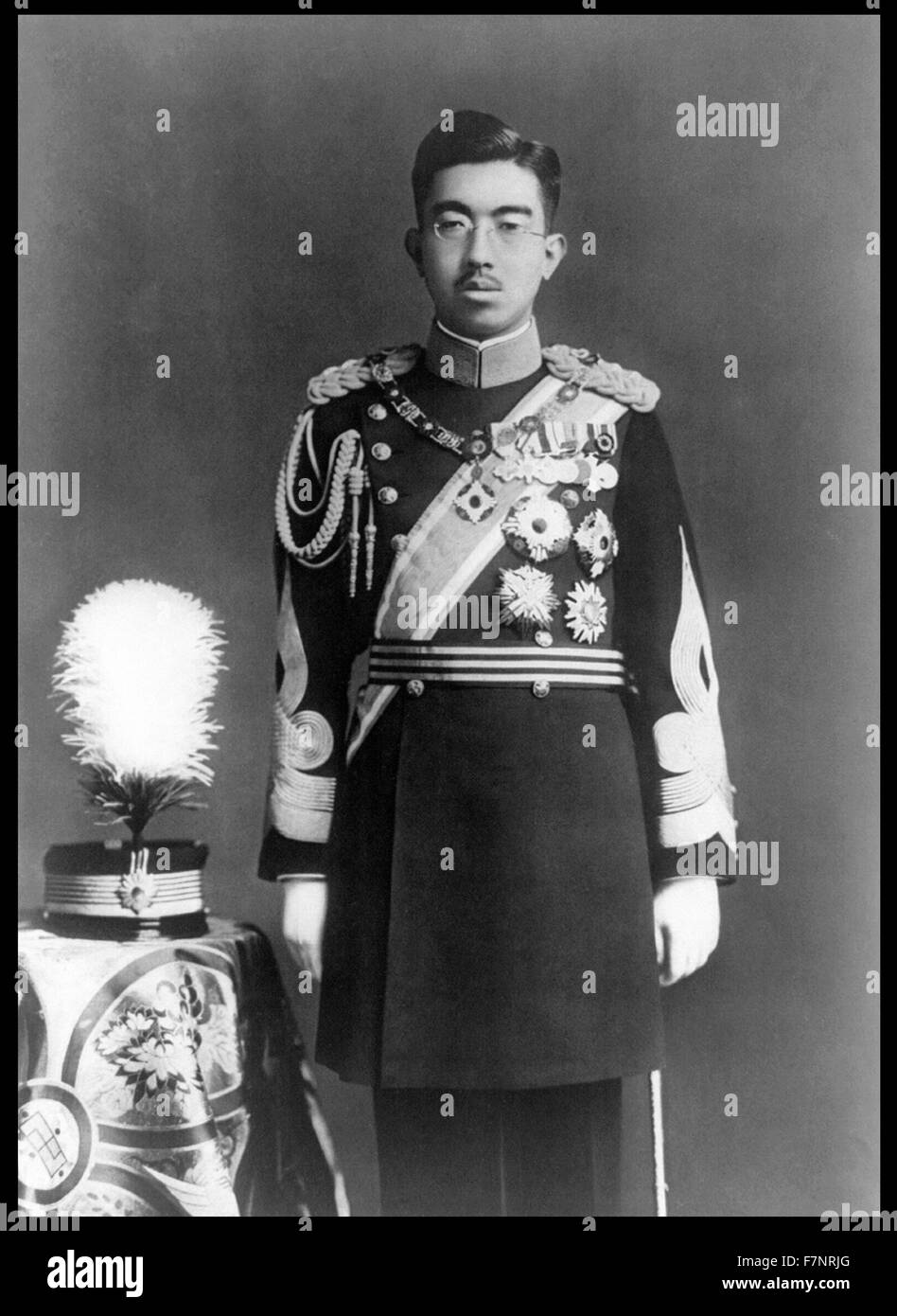 Photograph of Emperor Sh?wa (1901-1989) Emperor of Japan, also known as Hirohito, in Dress Uniform. Dated 1935 - Stock Image