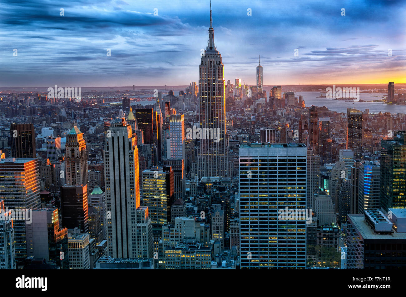 Manhattan skyline looking South towards Empire State building, New York City,  USA., from the roof of the Rockefeller - Stock Image