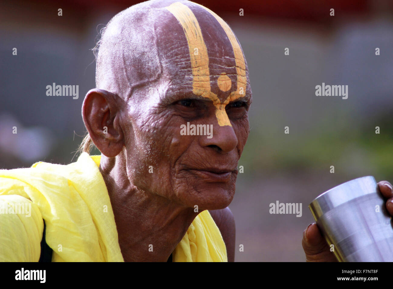 Sadhu with painted forehead Kumbh Mela, Nasik, Maharashtra, India - Stock Image