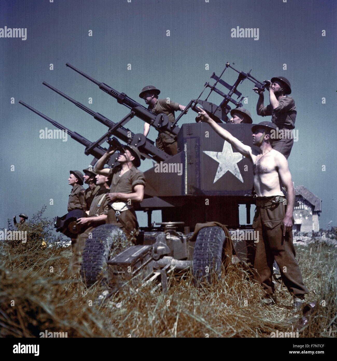 Photograph of Canadian personnel portable Triple Polsten 20mm anti-aircraft mount. France. Dated 1944 - Stock Image