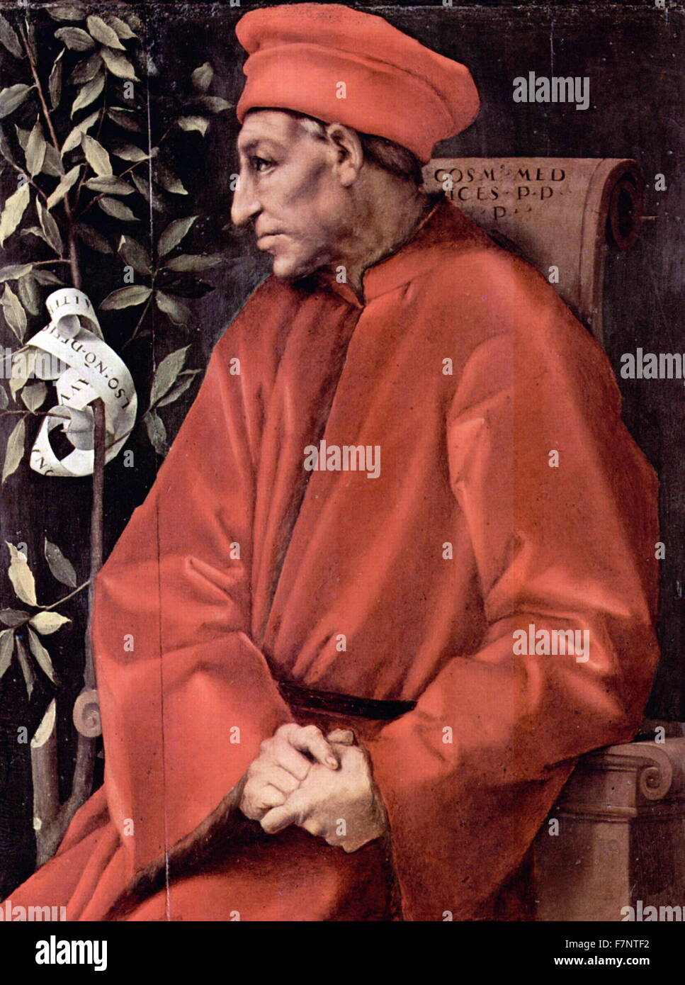 Portrait of Cosimo de' Medici (1389-1464) the first of the Medici political  dynasty. Painted by acopo da Pontormo (1494-1557) Italian Mannerist painter  and ...