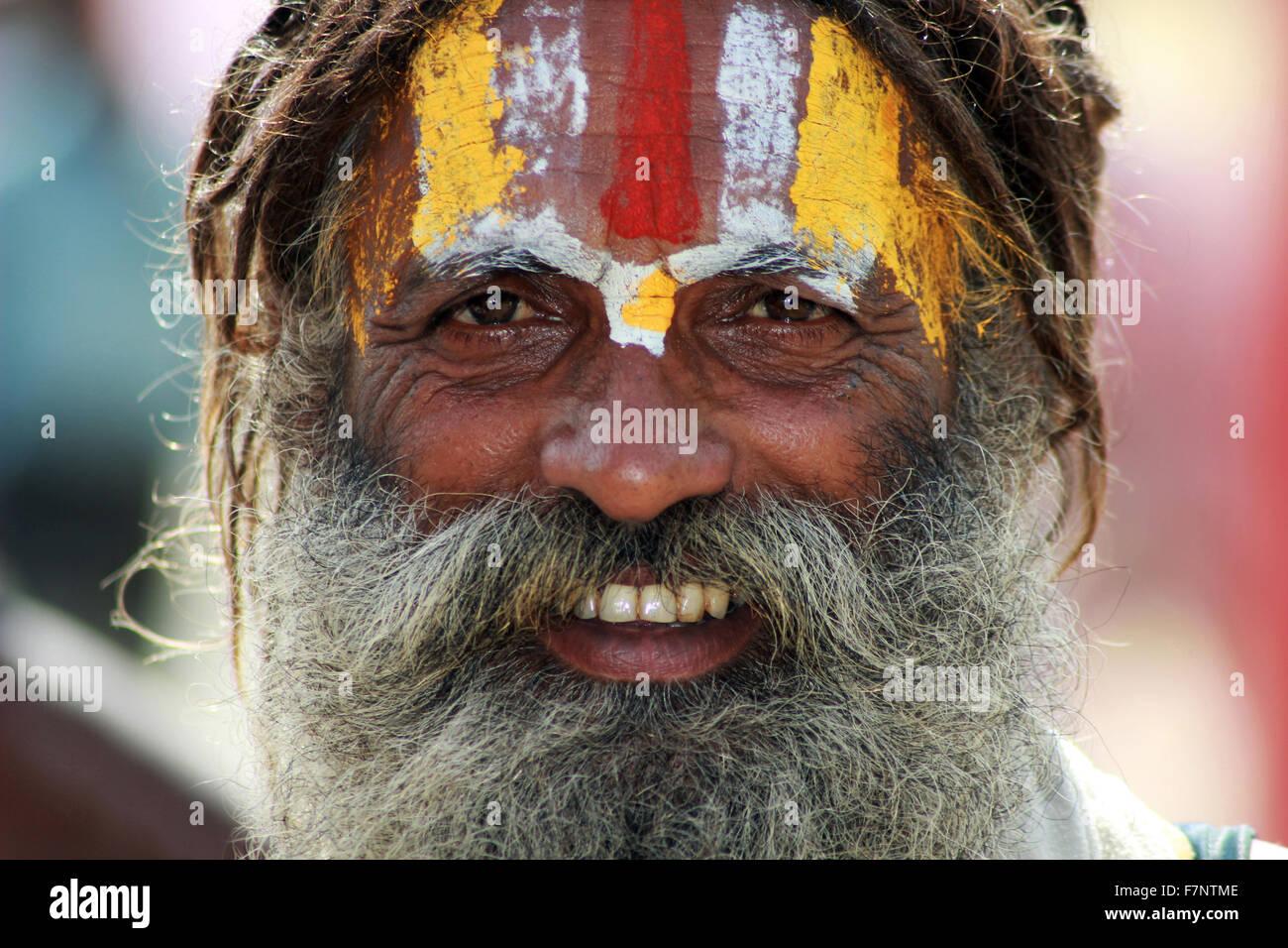 Sadhu with painted forehead closeup Kumbh Mela, Nasik, Maharashtra, India - Stock Image