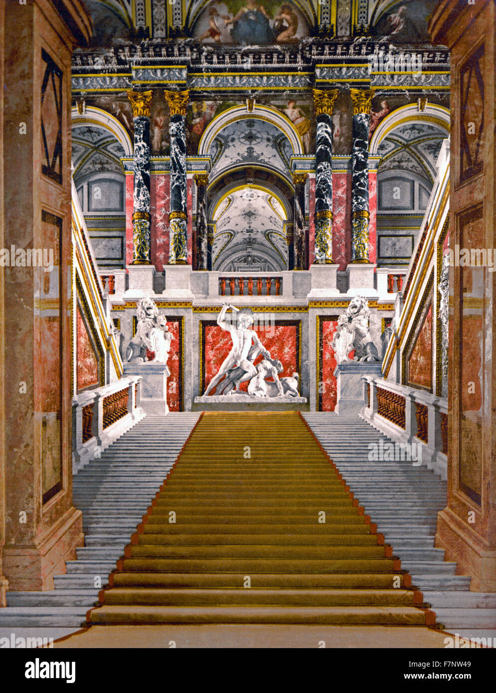 The Museum of Arts, the staircase, Vienna, Austro-Hungary - Stock Image