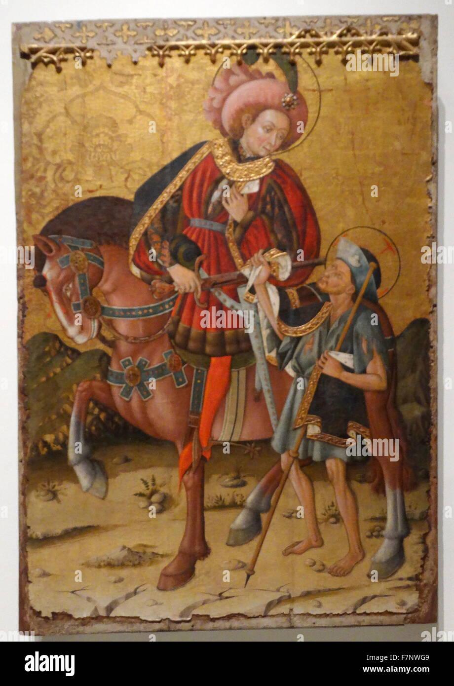 Saint Martin Dividing his coat by Blasco de Grañén (1422-1459) Gothic painter active in Aragon. Dated - Stock Image