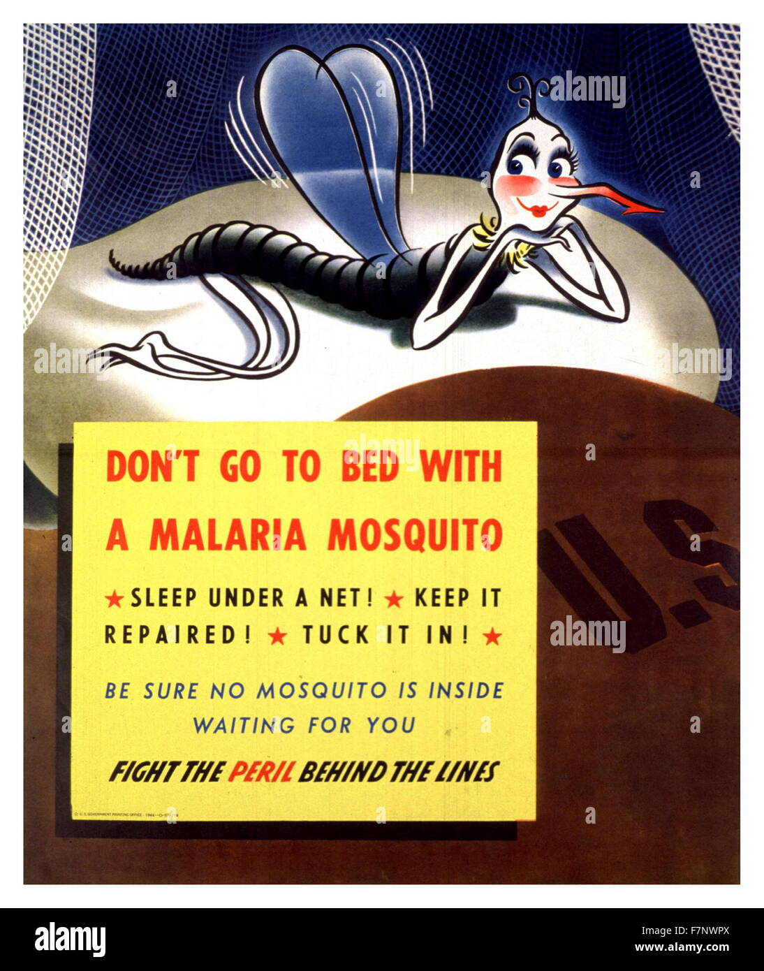 World War Two US propaganda poster 'Don't go to Bed with a Malaria Mosquito' 1943 - Stock Image