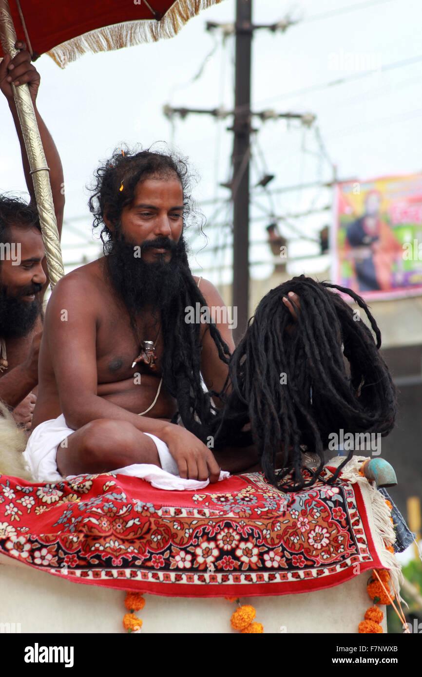Sadhu with long black beard Kumbh Mela, Nasik, Maharashtra, India - Stock Image