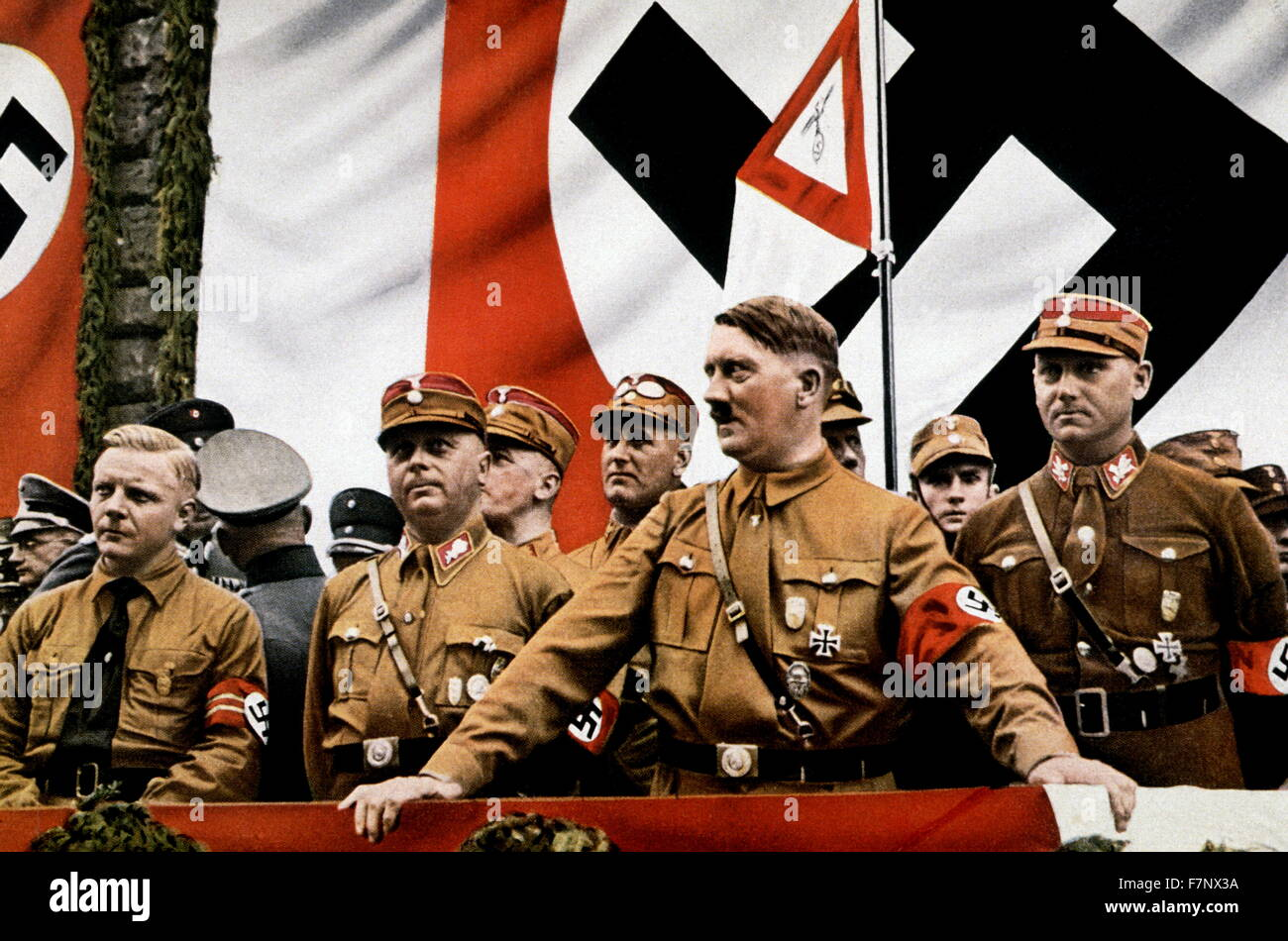 Hitler and other SA leaders at a rally in Germany circa 1935 Stock Photo