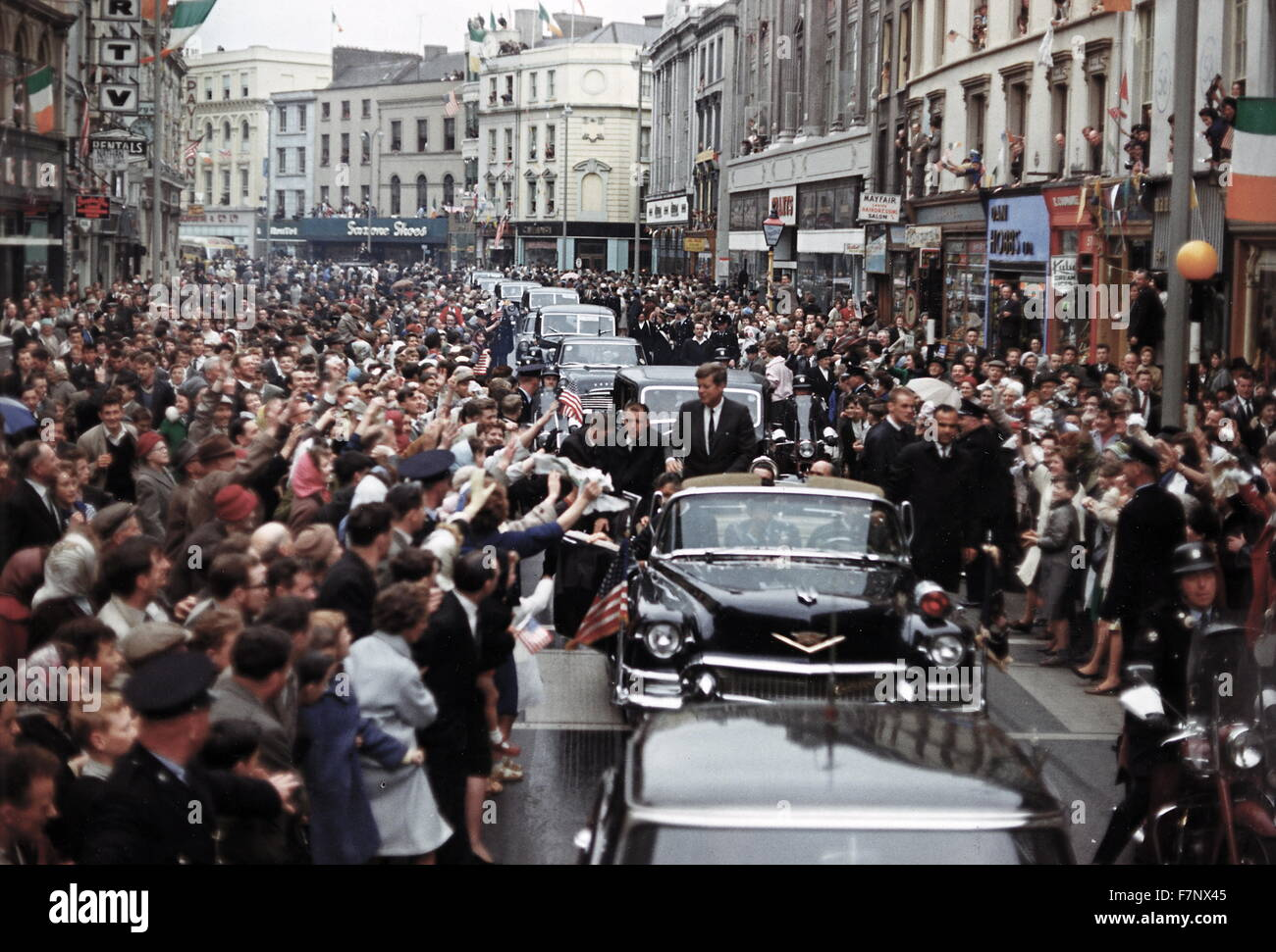 US President John Kennedy; Trip to Europe: Motorcade in Dublin, Ireland 1963 - Stock Image