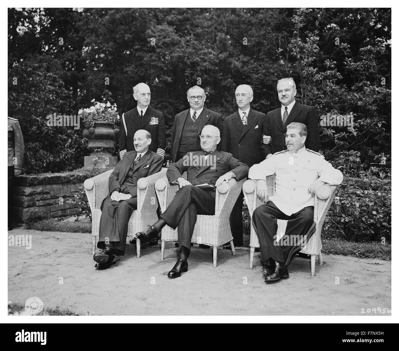 World war two, British, American and Russian leaders: Attlee, Truman, and Stalin at the Potsdam Conference, 1945. - Stock Image