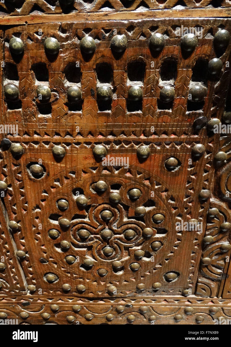 Embossed wooden wedding chest from North Africa. Dated 18th Century - Stock Image