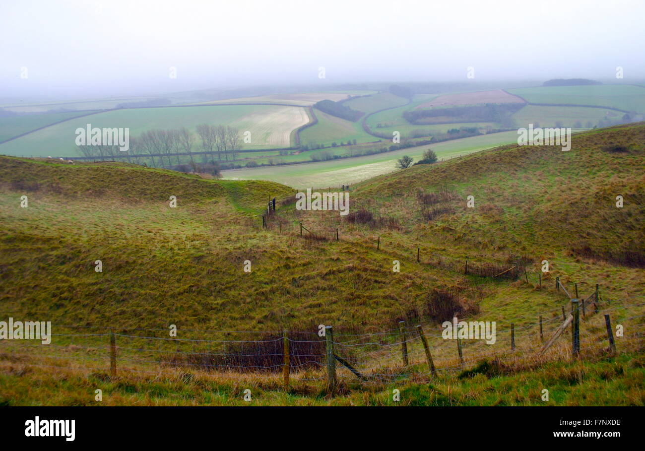 Maiden Castle, Iron Age hill fort, near Dorchester, England. fortified hill-top settlement constructed during the Stock Photo