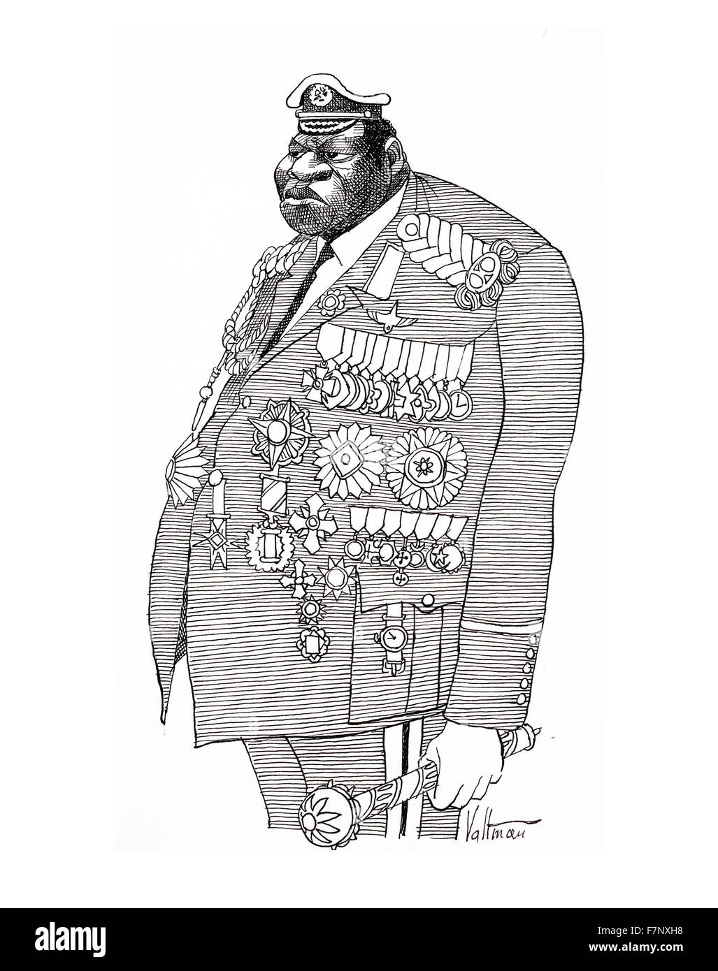 cartoon depicting Field Marshall, Idi Amin Dada (c. 1925 – 16 August 2003) President of Uganda, from 1971 to 1979. - Stock Image