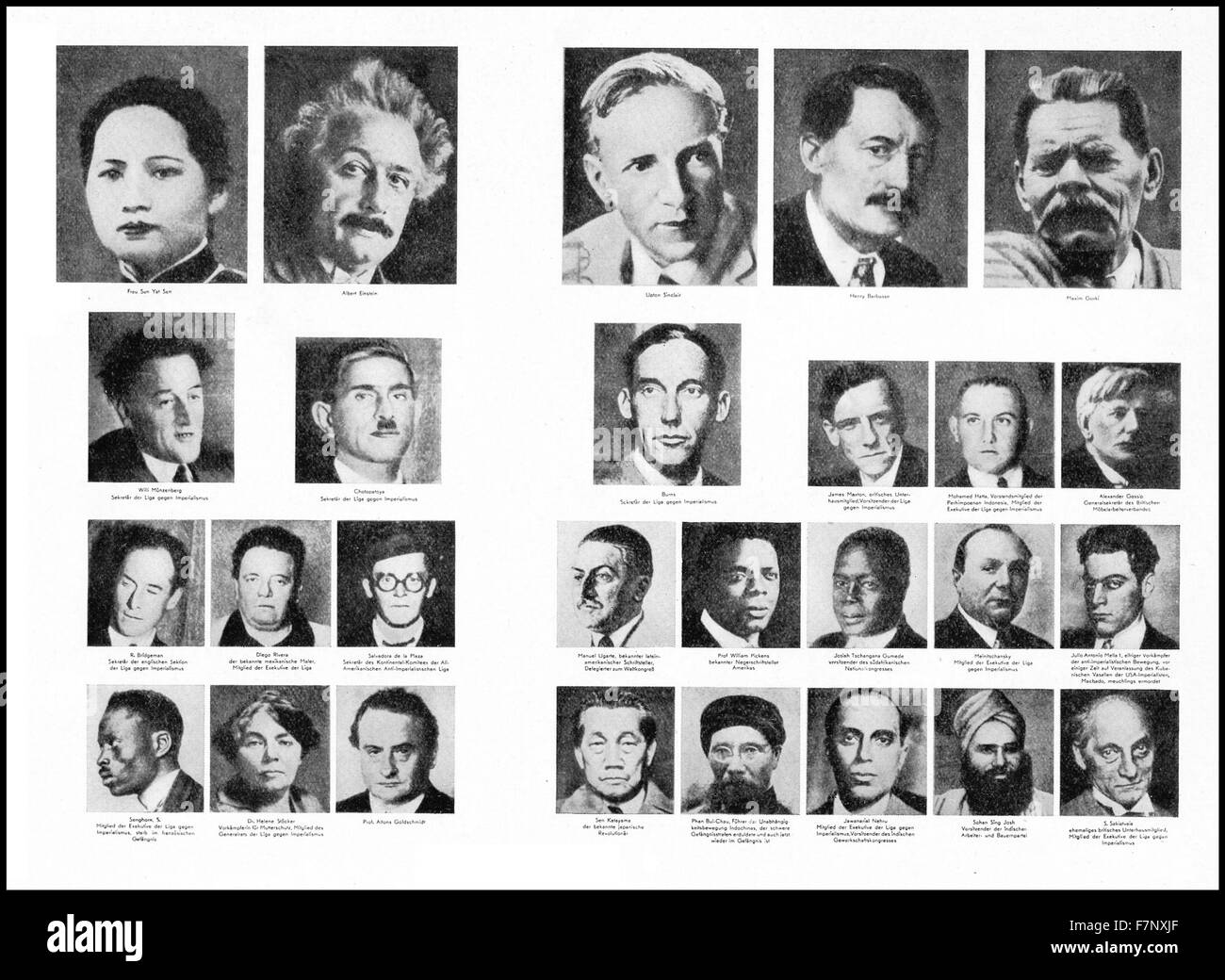 The Honorary Presidium and Executive Committee of the League against Imperialism (1929). Members included: Soong - Stock Image