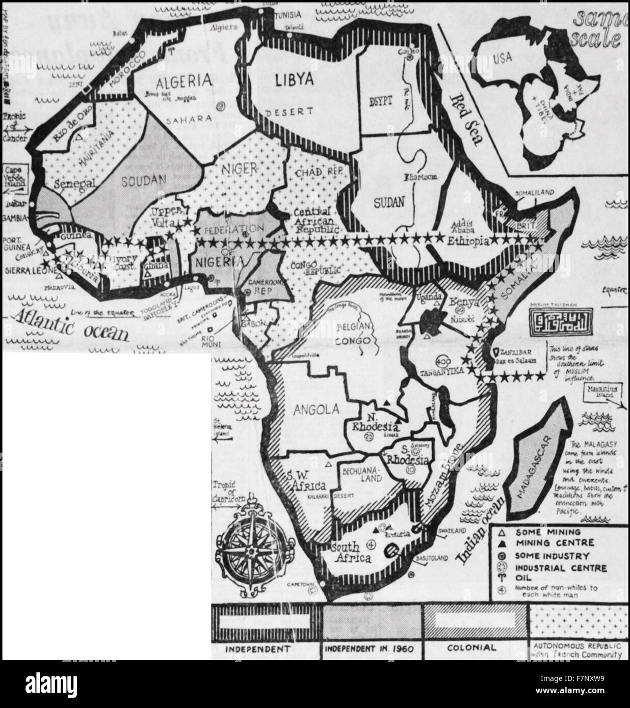 Map of Africa showing the independent states and European colonies in 1959 - Stock Image