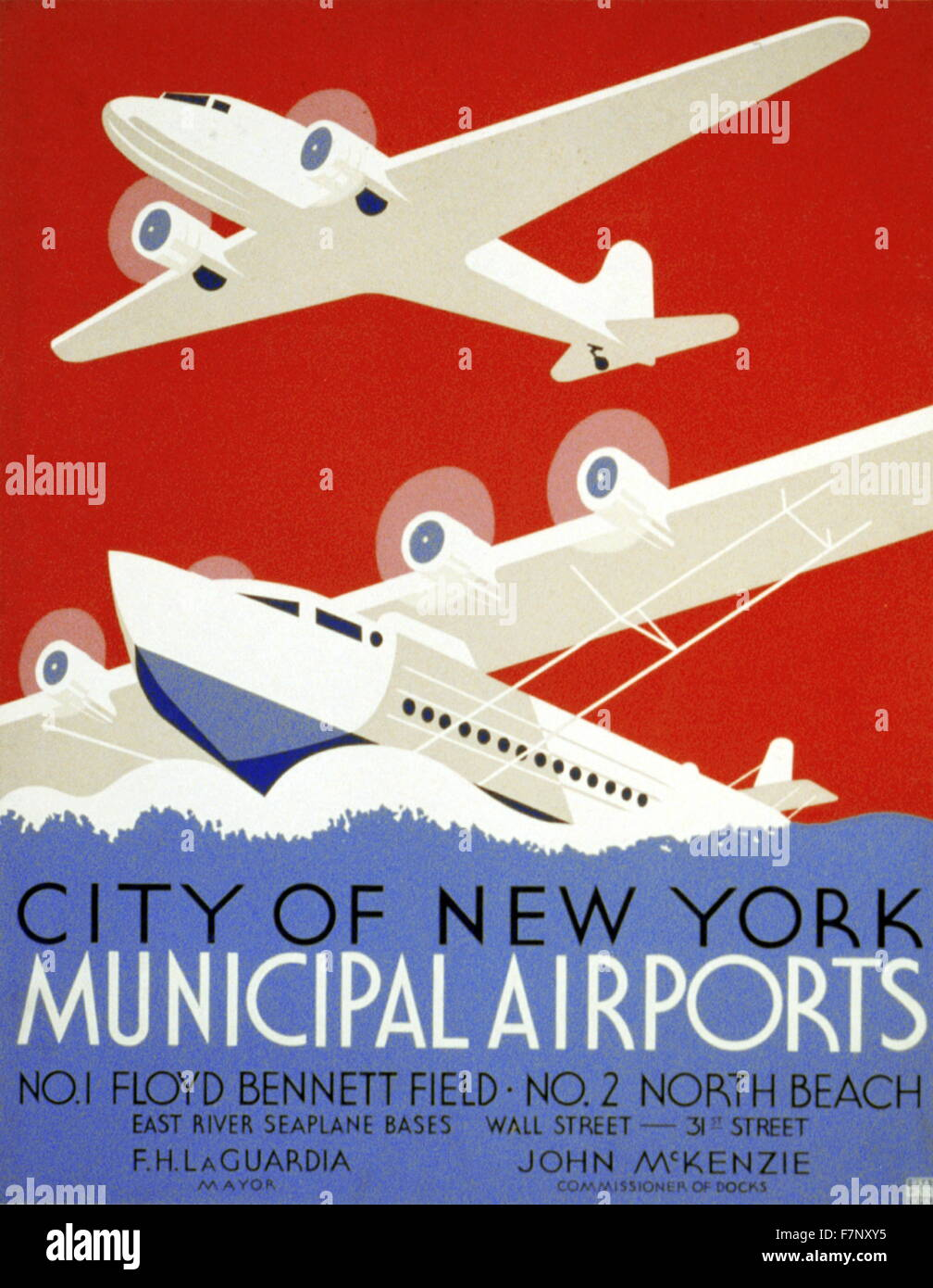 Poster promoting New York's municipal airports 1937 - Stock Image