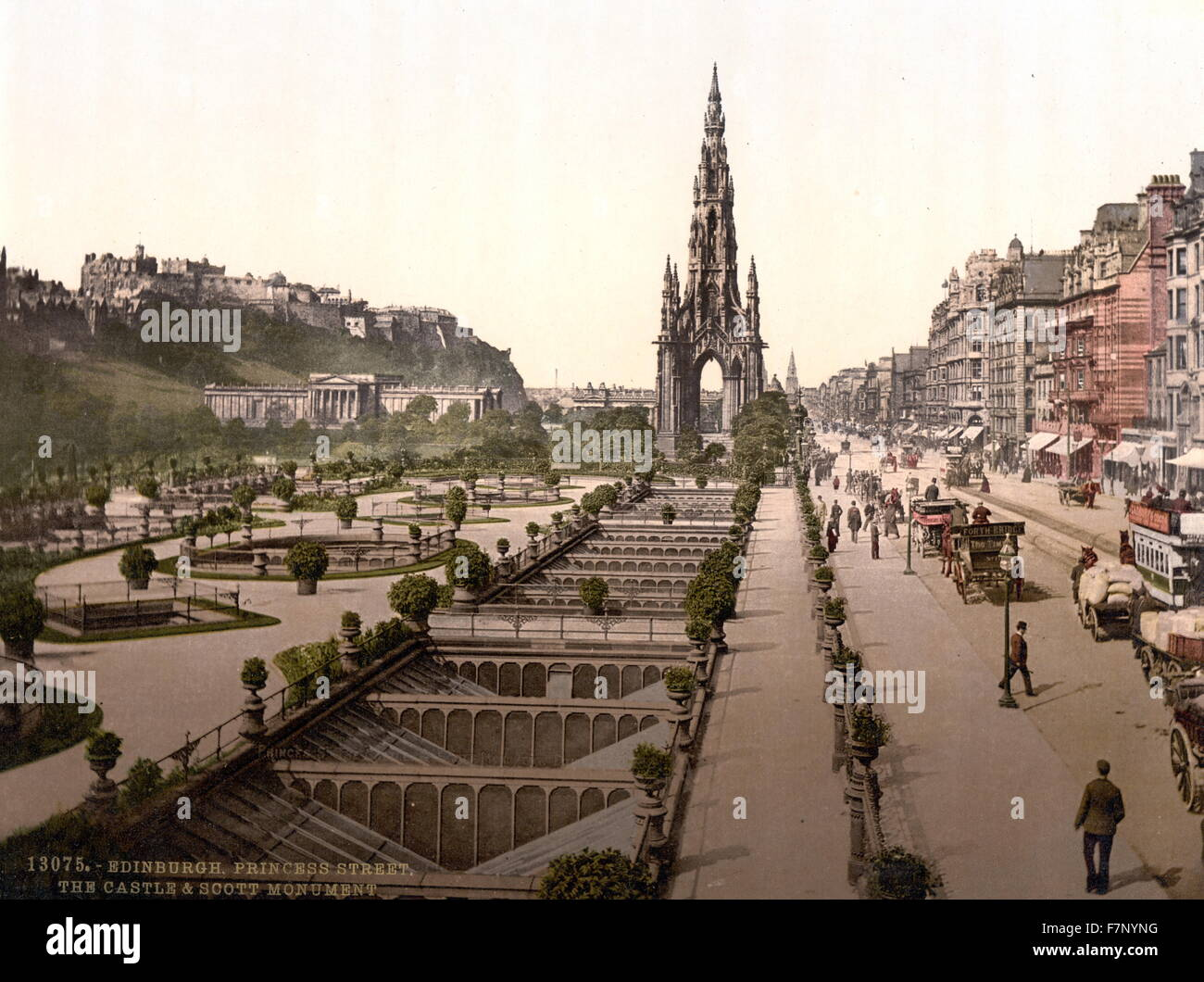 Princes Street, the castle, and Scott Monument, Edinburgh, Scotland 1890 - Stock Image