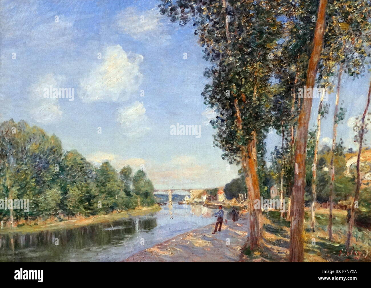 In Saint-Mammès. June Sunshine by Alfred Sisley (1839-1899) French impressionist landscape painter. Dated 1852 - Stock Image