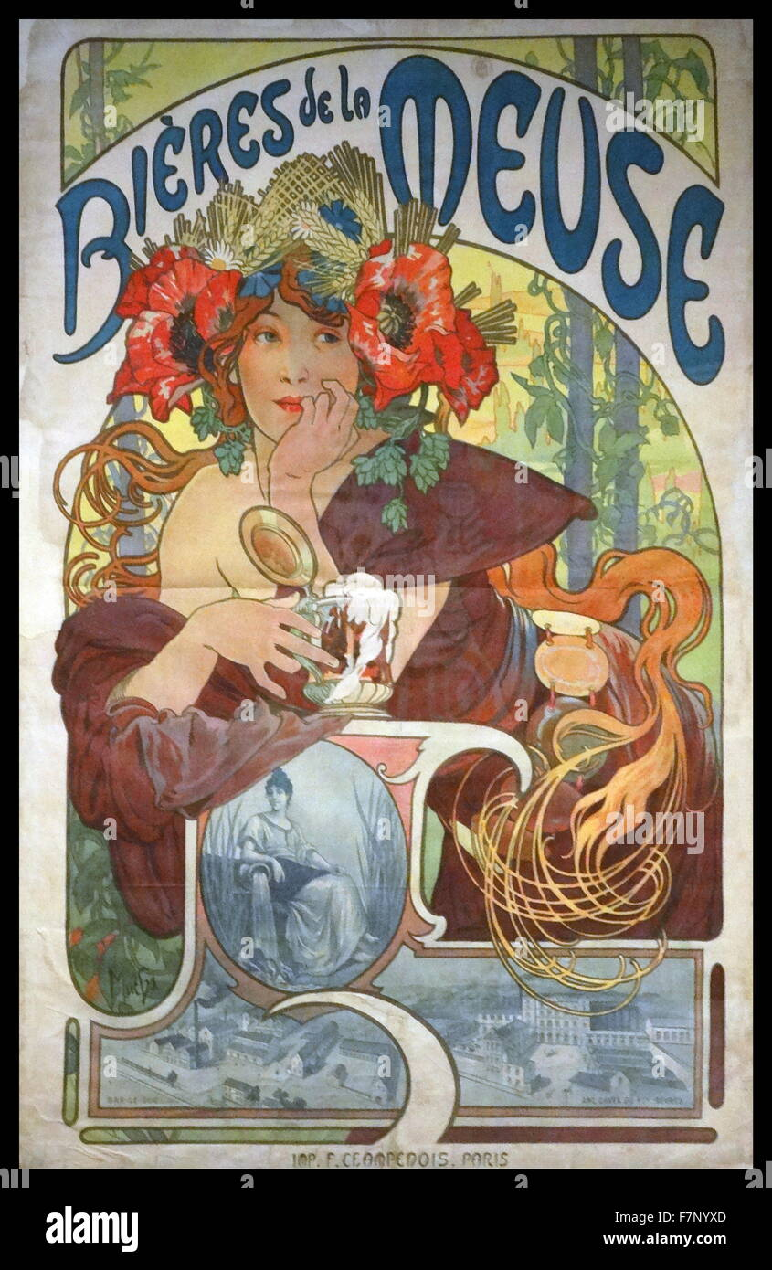 Carriage Dealers by Alphonse-Marie Mucha (1860-1939) Czech Art Nouveau painter and decorative artist. Dated 1902 - Stock Image