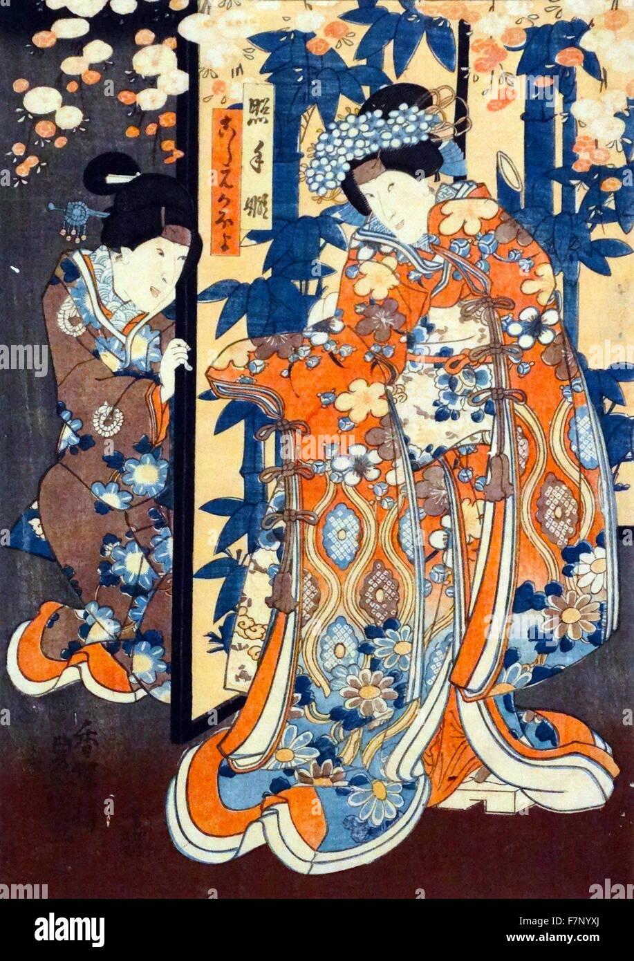 Terutekime and Koshimoto Kaoyo by Utagawa Kunisada (1786-1865) Japanese designer of ukiyo-e woodblock prints. Dated - Stock Image