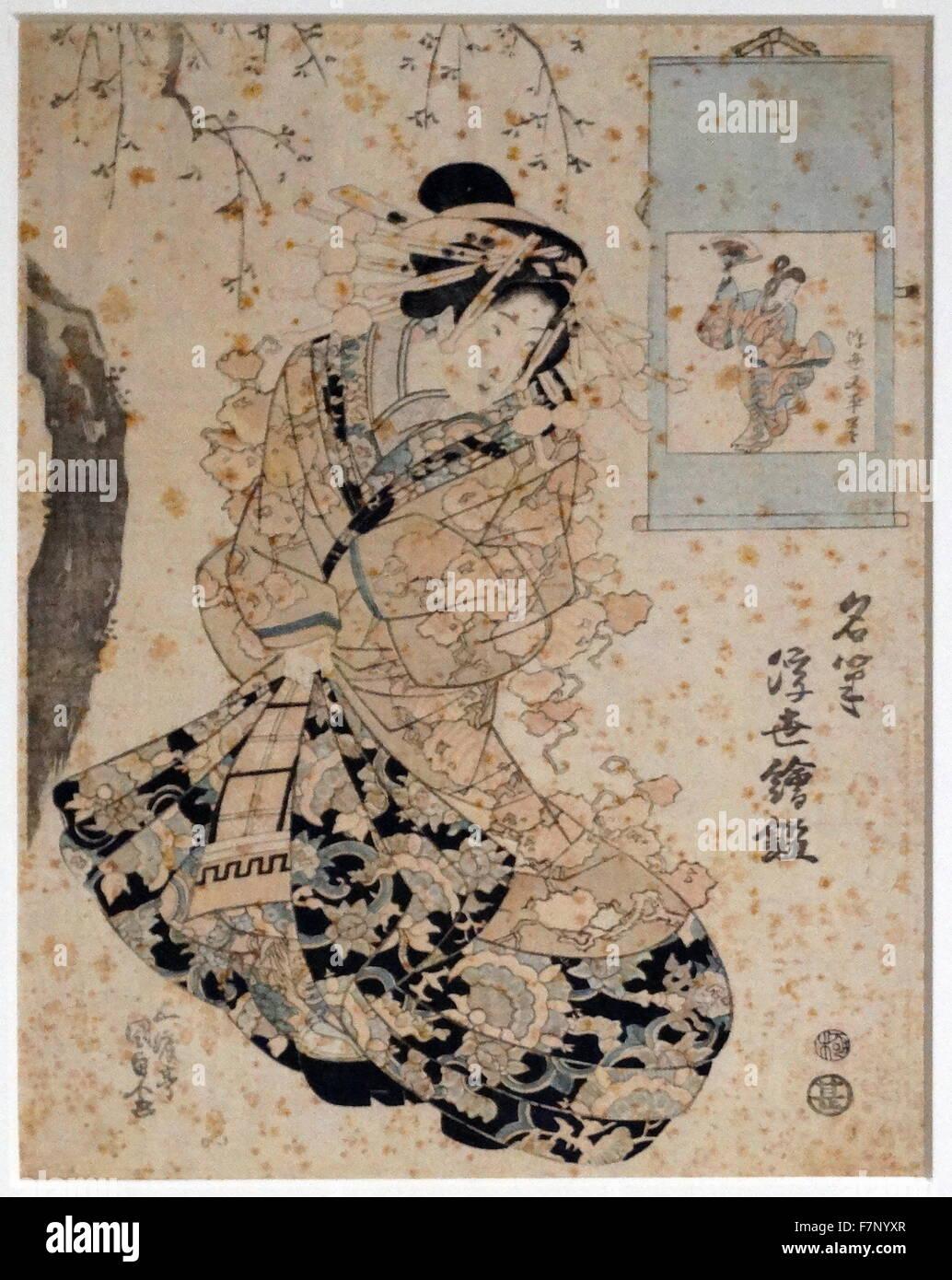 Ukiyo Matabei (Meishitsu ukiyo-e kagami) by Utagawa Kunisada (1786-1865) Japanese designer of ukiyo-e woodblock - Stock Image