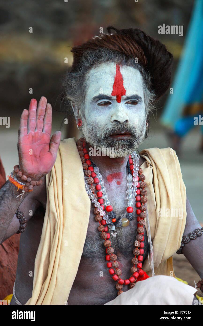 Sadhu with ash on face Kumbh Mela, Nasik, Maharashtra, India - Stock Image