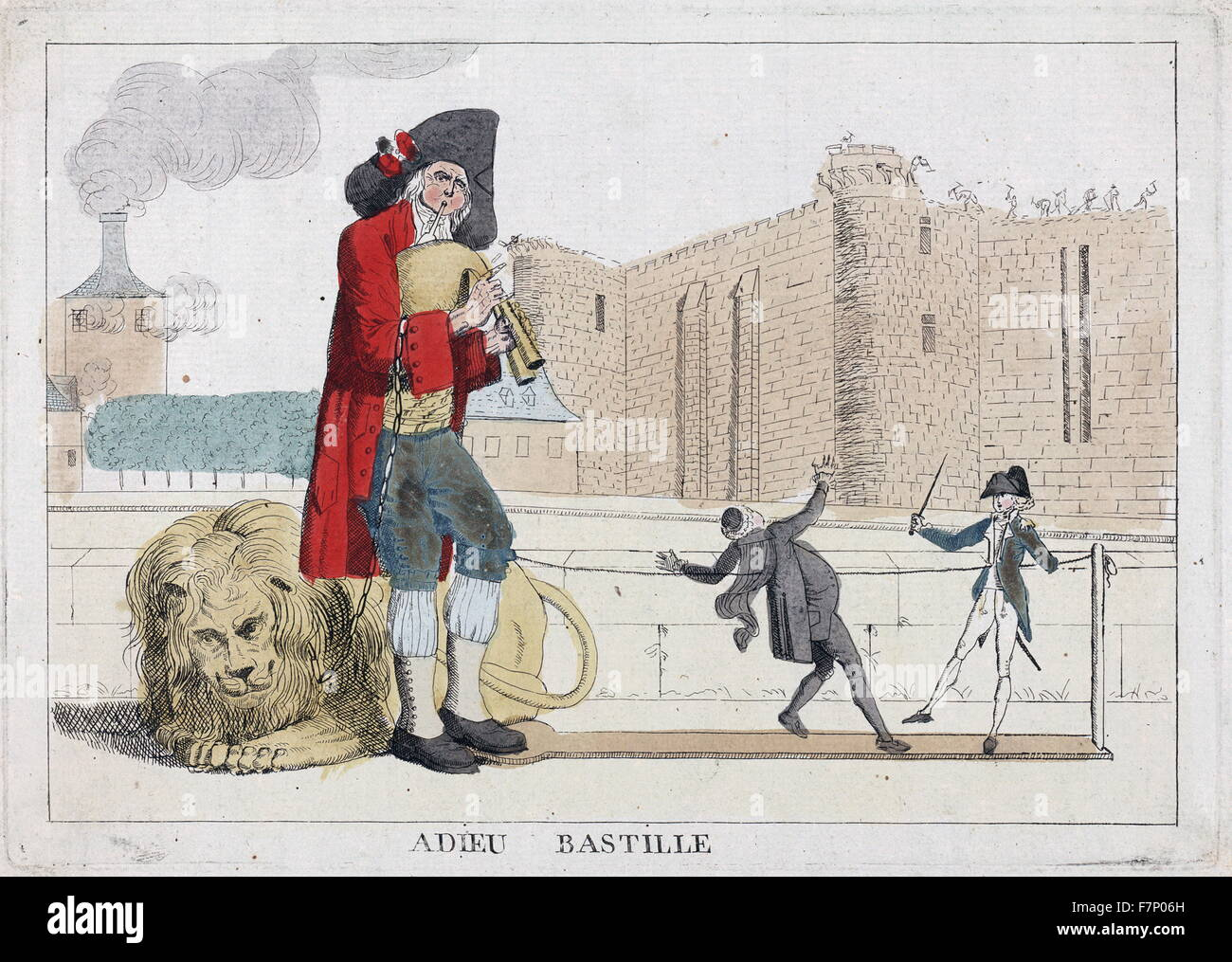 Adieu Bastille. Published 1789. etching, hand-coloured. Print shows a man playing a bagpipe, behind him lies a lion Stock Photo