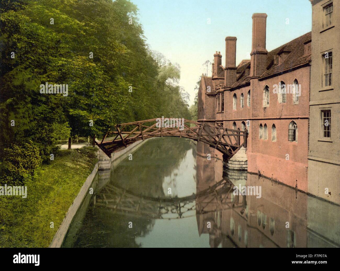 Queen's College Bridge, Cambridge, England 1890 - Stock Image