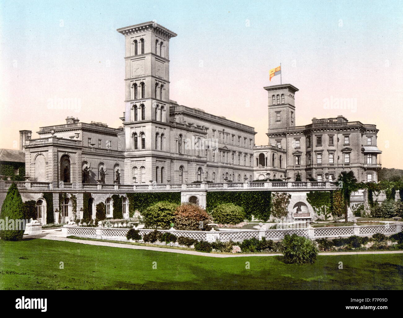 Osborne House, Isle of Wight, England 1890. Osborne House is a former royal residence in East Cowes, Isle of Wight, - Stock Image