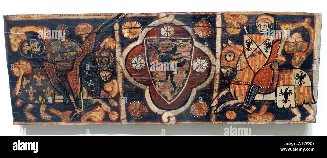 15th Century Spanish gothic panelling. - Stock Image