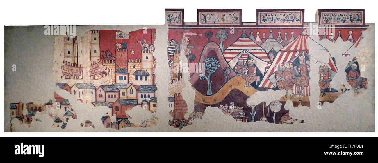 Mural paintings of the conquest of Mallorca. Dated 13th Century - Stock Image
